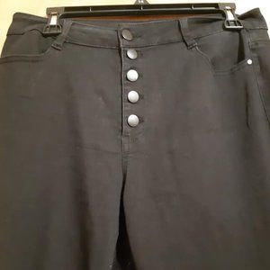 Refuge Black Flared Button Up Dress Pants